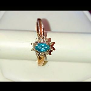 Size 7 10k gold Genuine Blue Zircon ring